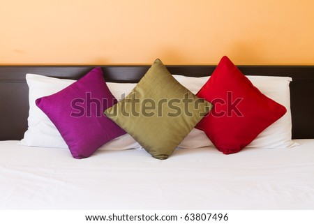 Pillows in three colors