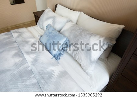 pillows on the bed close-up, comfortable soft bed