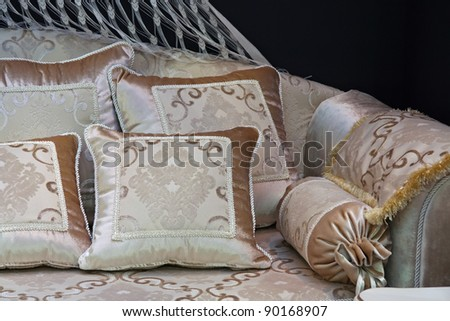 Pillows on the sofa. Decoration cushions on the modern style furniture.
