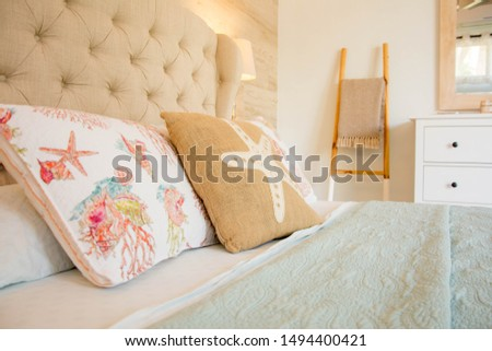 Pillows. Patterned pillows. Bedroom and pillows