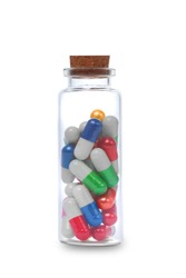 Pills and bottle. isolated on white background