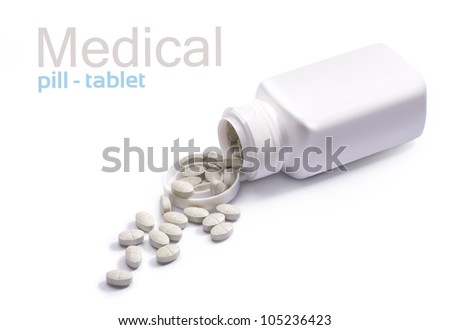 Pills and container on white background