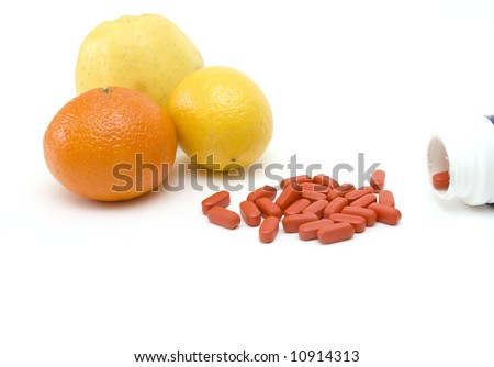 pills and fruits