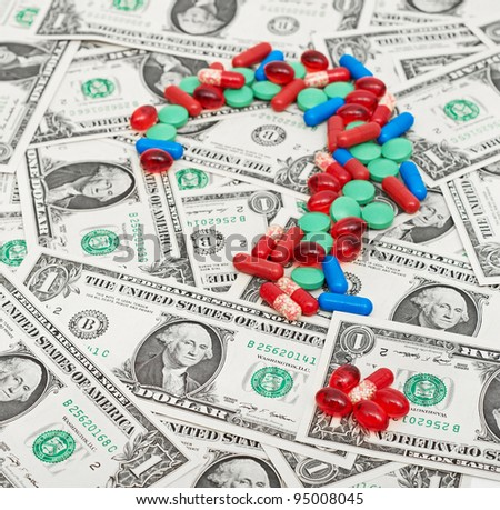Pills and money, abstract business medical background