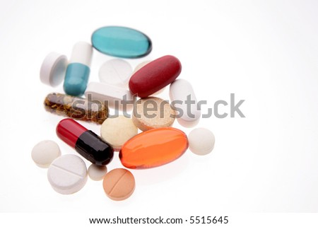 Pills and tablets isolated on white background