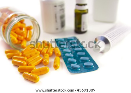 pills assortment on white background