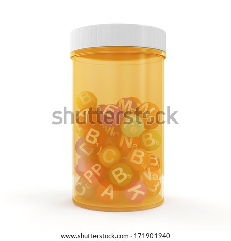 Pills Bottle with Vitamins inside isolated on white background