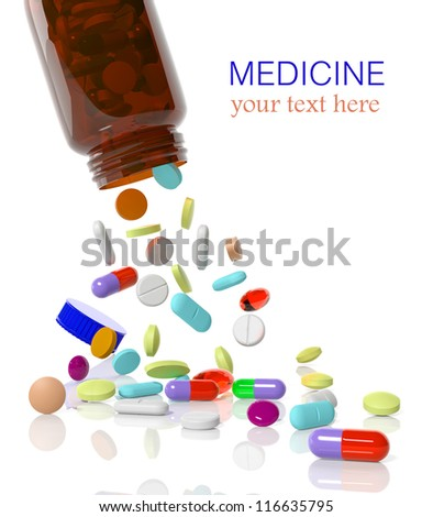 Pills come out from a medicine bottle
