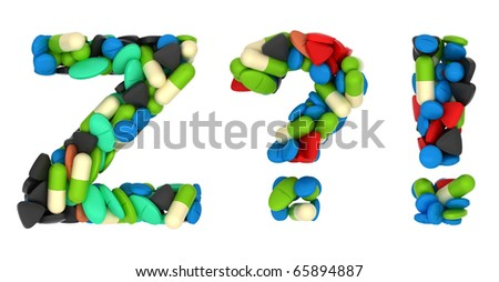 Pills font Z exlamation and query marks isolated over white