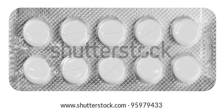 Pills in a blister pack on a white background
