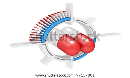 pills in a target isolated on a white  3d illustration