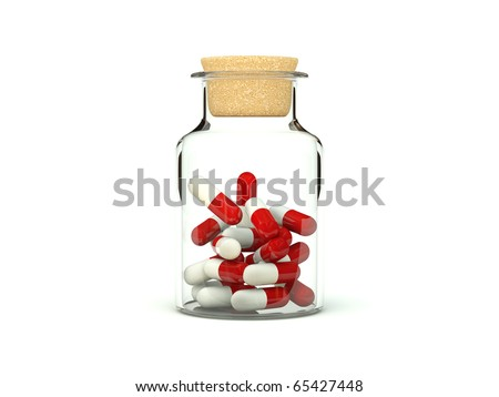 Pills in glass medicine bottle isolated on white