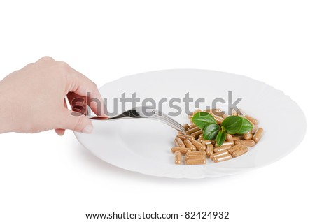 Pills in plate - abstract medical background