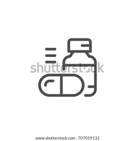 Pills line icon isolated on white