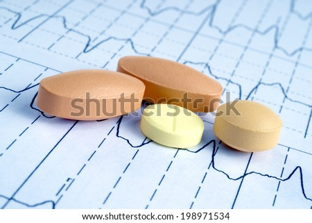 pills on the cardiogram background