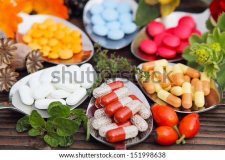 Pills, Tablets, Capsules And Medicinal Herbs