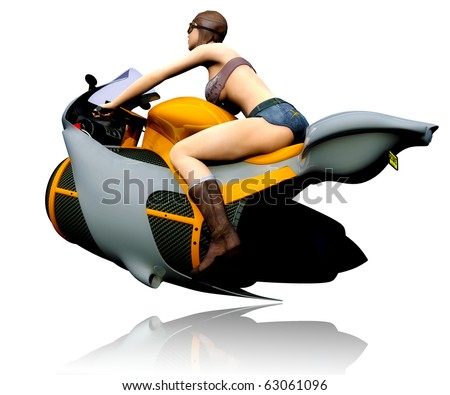 pilot girl and aero bike running out reflection - stock photo
