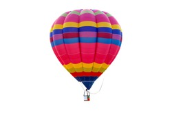 Pilot hot air balloon isolated on white background