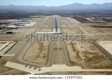 Pilot view of approach to landing at Tucson International Airport