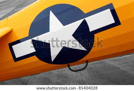 PILSEN, CZECH REPUBLIC - AUGUST 28: Insignia white star on historic us navy training biplane Boeing B 75 Stearman, Pilsen Aeronautical Days on August 28, 2011 in Pilsen, Czech Republic