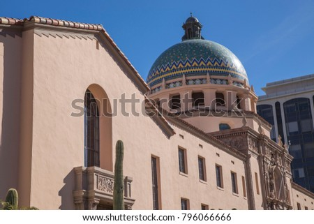 Pima county courthouse Tucson Arizona angle shot blue sky wider angle building