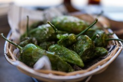 Pimientos de Padron, a Spanish Tapas dish consisting of fried green peppers coated with crystalline sea salt