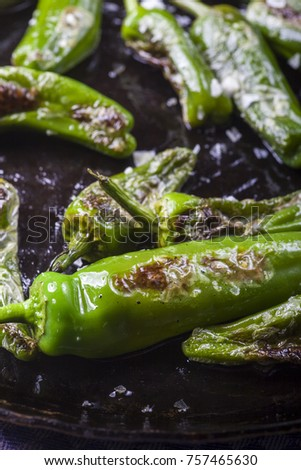 Shutterstock pimientos de padron in an iron pan