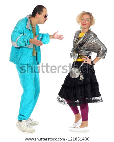 pimp and a prostitute isolated on white background
