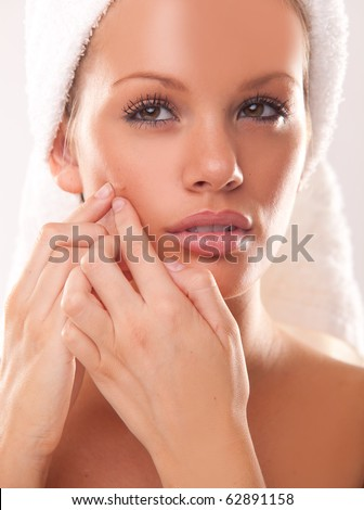 Pimple , spot on beauty woman face