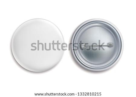Pin badges. White round blank button, advertise metal 3d circle sign. Souvenir magnet badging mockup