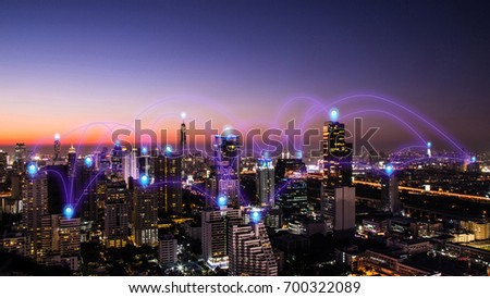 pin flat above night cityscape and glowing networking connection as communication concept #700322089