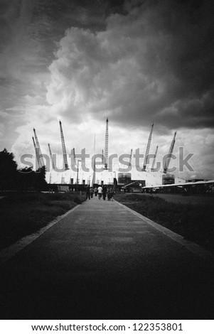 Pin hole shot of long path to the Millennium Dome Greenwich peninsula, London England UK
