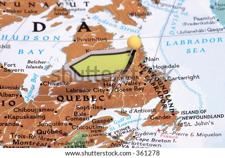 Pin in a Map Locating Quebec