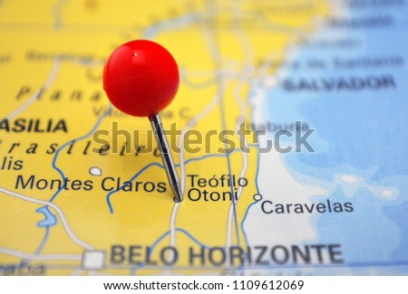 Pin in Teófilo Otoni on map, Belo Horizonte, Brazil #1109612069