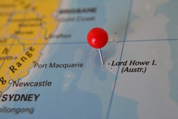 Pin marked Lord Howe Islands on map, Australia