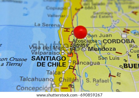 Shutterstock Pin marking Santiago de Chile, capital of Chile