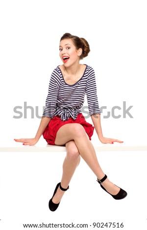 Pin-up girl sitting