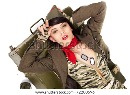 pin-up image of sexy lovely brunet in military form