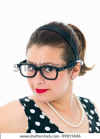 Pin-up 50's style nerdy teenage girl surprised on pure white background