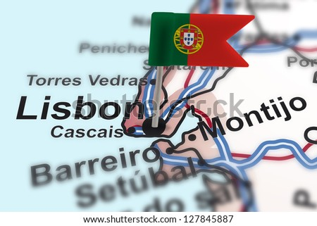 pin with flag of Portugal in Lisbon with selective focus