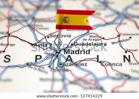 pin with flag of Spain in Madrid with selective focus