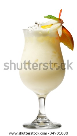 Pina Colada - Cocktail with Cream, Pineapple Juice and Rum. Isolated on White Background