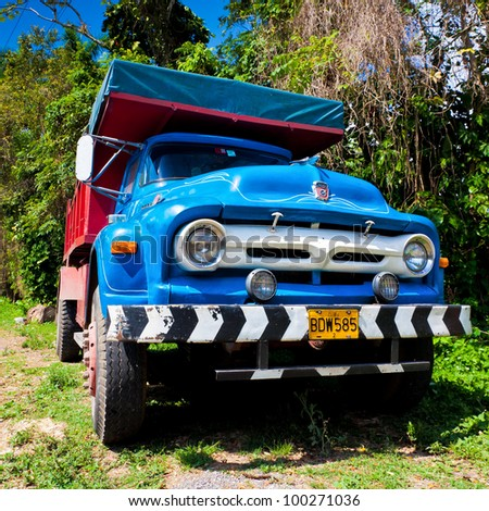 PINAR DEL RIO,CUBA-APRIL 7:Old Ford truck in a rural road April 7,2012 in Pinar del Rio.Before a new law issued on October 2011,cubans could only trade vehicles that were on the road before 1959