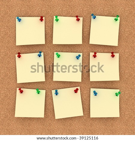 Pinboard with nine notes on it. Thumb tacks hold the notes in place.