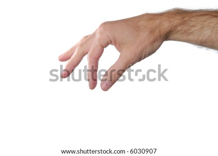 Pinching hand sign isolated on white background