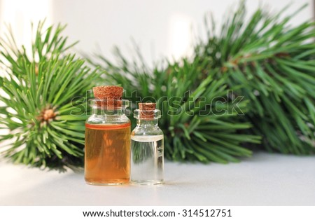 pine aroma oil extract natural in cosmetic bottles aromatherapy setting
