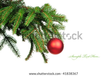 Pine branches and christmas ball isolated on white background #41838367