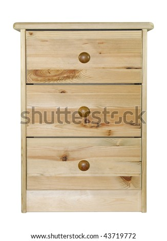 Pine chest of drawers with clipping path