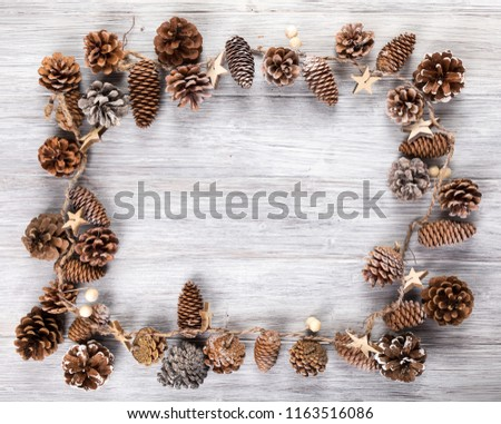 pine cone background with wooden background #1163516086