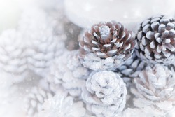 Pine cone decoration for winter season, christmas with snow